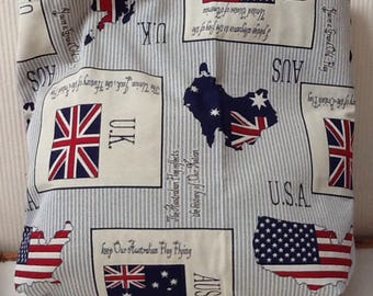 Canvas tote bag grey flags