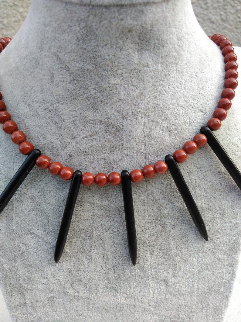 Red jasper necklace and howlitte tip