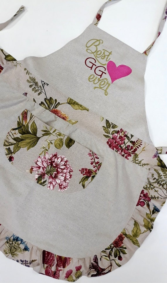 Custom aprons Set of 2 Linen aprons Embroidered apron Personalized Kitchen aprons Womens aprons Gift for her Gift for mum Cute cooking apron