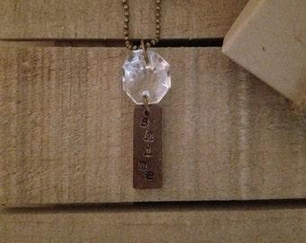 Sparkle + Shine - Vintage Crystal Necklace - Hand Stamped