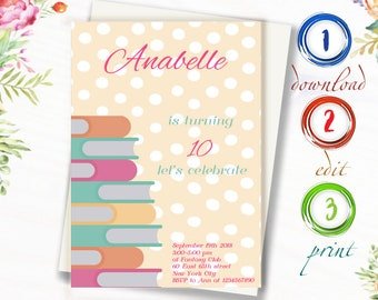 Children Birthday Invitation Study Kids Girl Invite Invitations Daughter