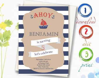 Baby Boy Birthday Invitation Editable Invite 1st 2nd 3rd 4th 5th First Second Third