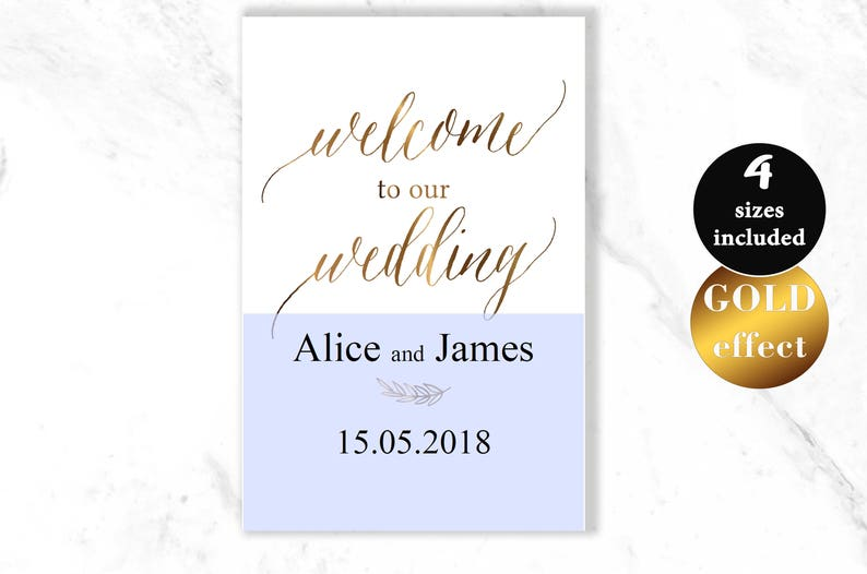 PDF Instant Download #HQT011/_12 Welcome Wedding Printable Wedding Poster Board Gold Wedding Welcome Sign Template Welcome Wedding Sign