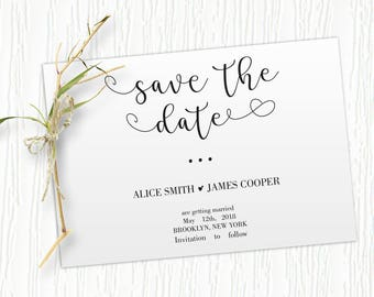 Save the Date Template, Save the Date Printable, Rustic Save the Date, Wreath, Template, Wedding Printable, Instant Download, PDF, #HQT010_2
