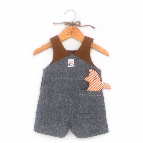 7a828aac4482 Blue Chambray Overalls   Baby Linen Romper   Classic Boy Sunsuit