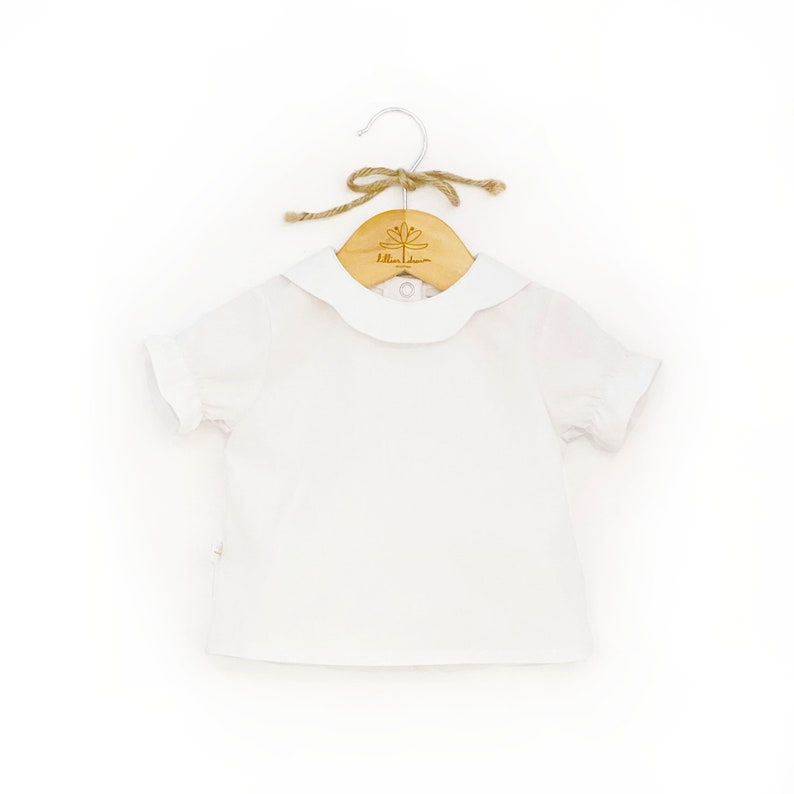 White Organic Cotton Girl Blouse  Classic Toddler Blouse  Collared Infant Retro Top  Photoshoot Children Shirt   Traditional Baby Blouse