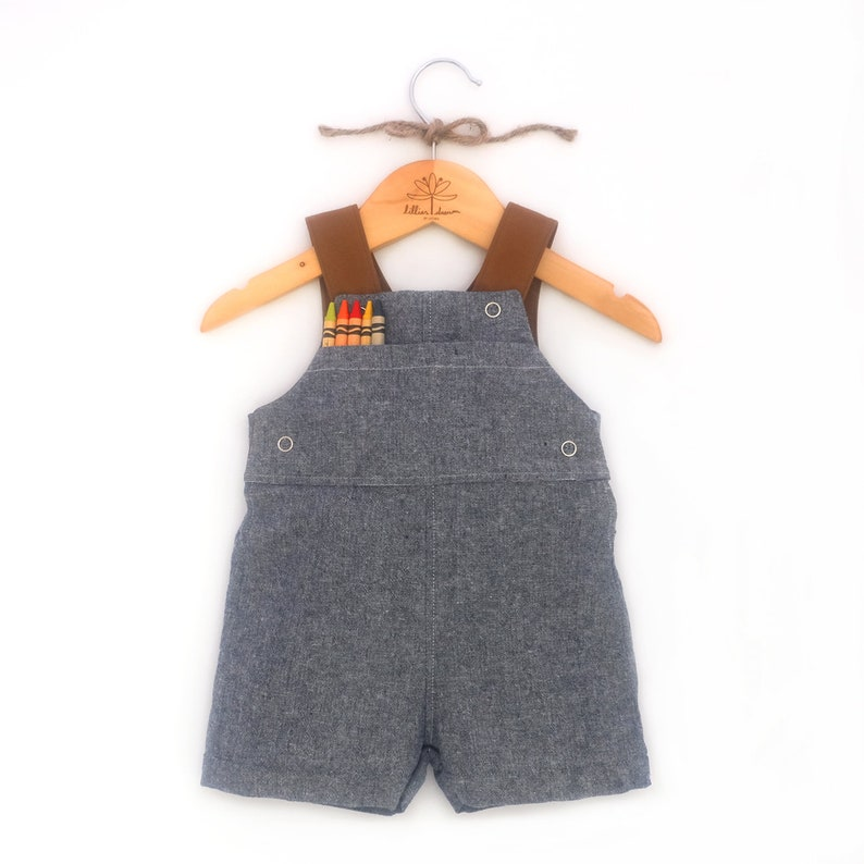 624063897 Blue Chambray Overalls   Baby Linen Romper   Classic Boy