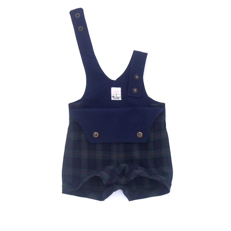 1c9a22378 Tartan Baby Boy Overalls   Retro Infant Romper   Navy Blue