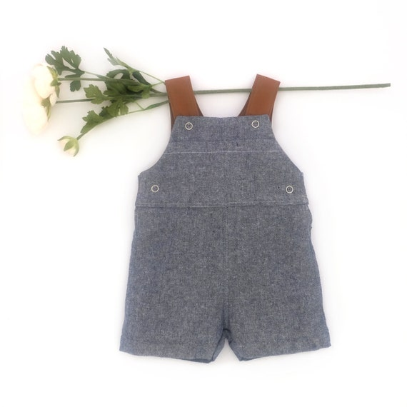 21247639e Blue Chambray Overalls   Baby Linen Romper   Classic Boy Sunsuit