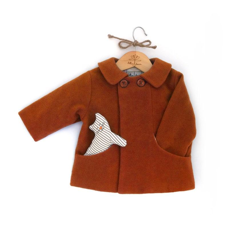 74f125edb5ef Burnt Orange Wool Coat   Rusty Brown Toddler Coat   Warm