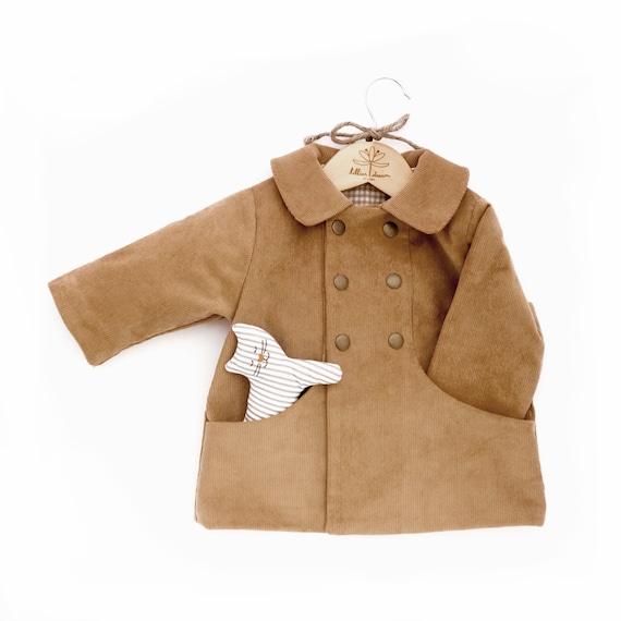 Camel Brown Corduroy Coat  Fall Unisex Baby Jacket  Warm Minimalist Toddler Coat  Timeless Infant Peacoat  Baby Autumn Coat With Pockets