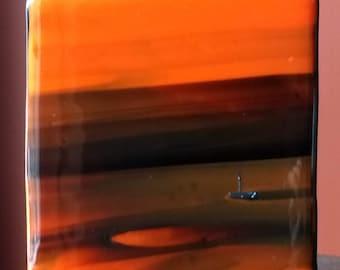 """Glass Art Panel - """"The Devil's Dead"""" Standing Tabletop Art"""