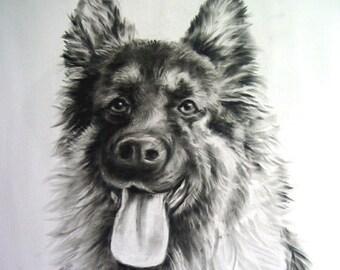 Custom Pet Portrait, Custom dog portrait, Dog Portrait, Pet memorial,  Pet portrait, Christmas gift, Dog drawing,  Drawn from photo,