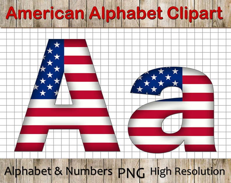 3a448989fd6 USA Flag Alphabet Clipart Uppercase and Lowcase American