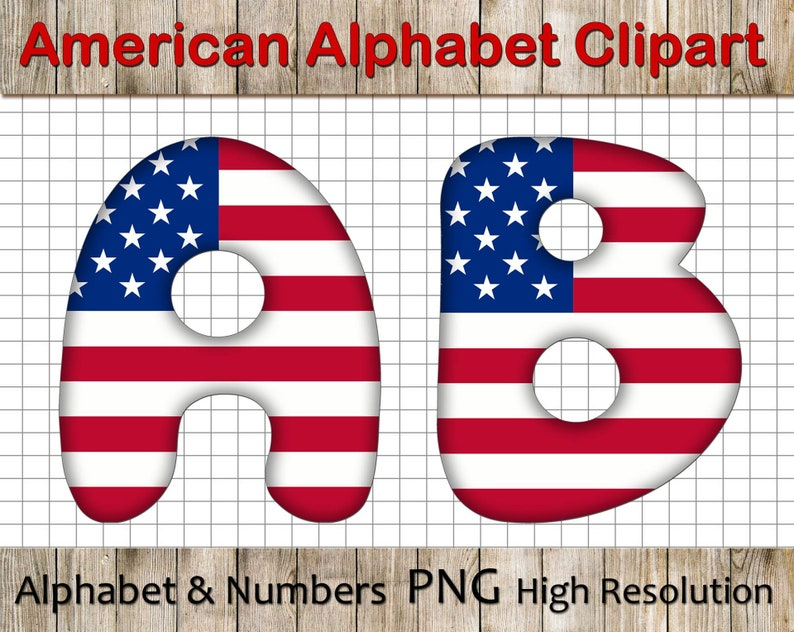 8d0c3fab255 USA Flag Alphabet Clipart American Flag Alphabet ABC USA