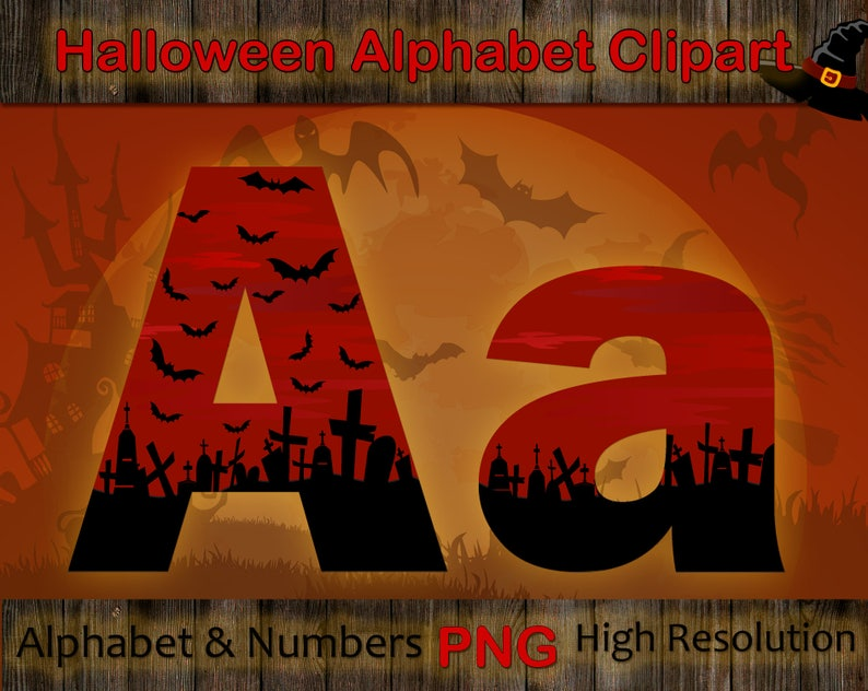 423e10d192d Halloween Alphabet Clipart Spooky red font with large and