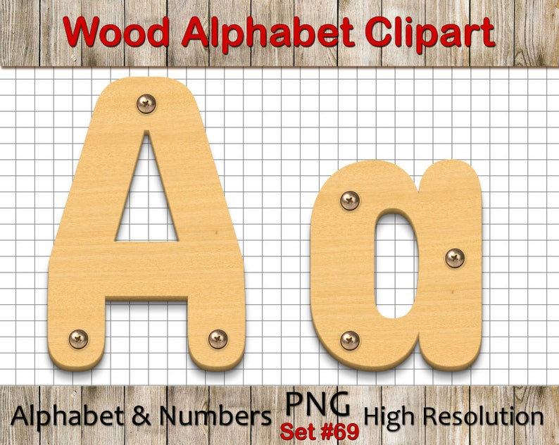 eb461155247 Wood Alphabet Clip Art with 3D effect Wood Letters Wood