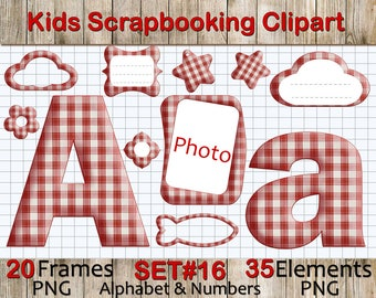 Fabric Checkered Alphabet Clipart for Scrapbooking, Papercrafts, Decor, Printable Lettering,Fabric,Instant Download, PNG