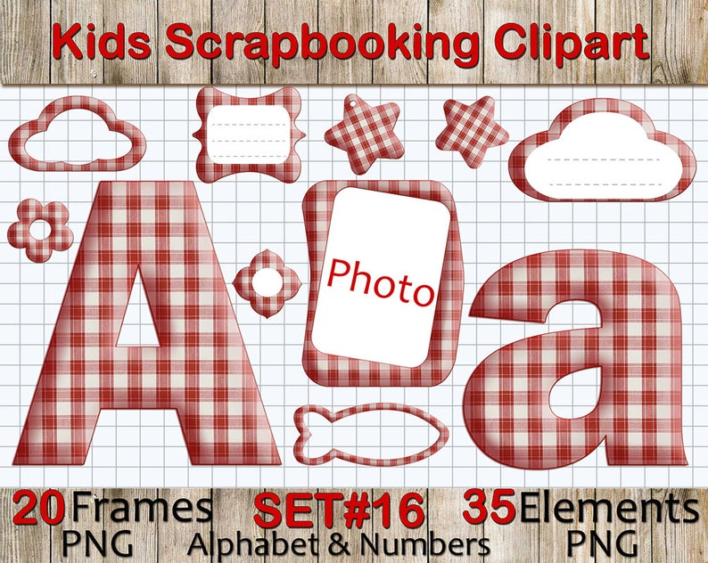 56e6d83dccc Fabric Checkered Alphabet Clipart for Scrapbooking