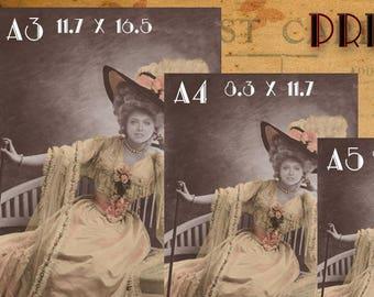 Custom Portrait, Print of costum-made photo, postcard, cabinet card.
