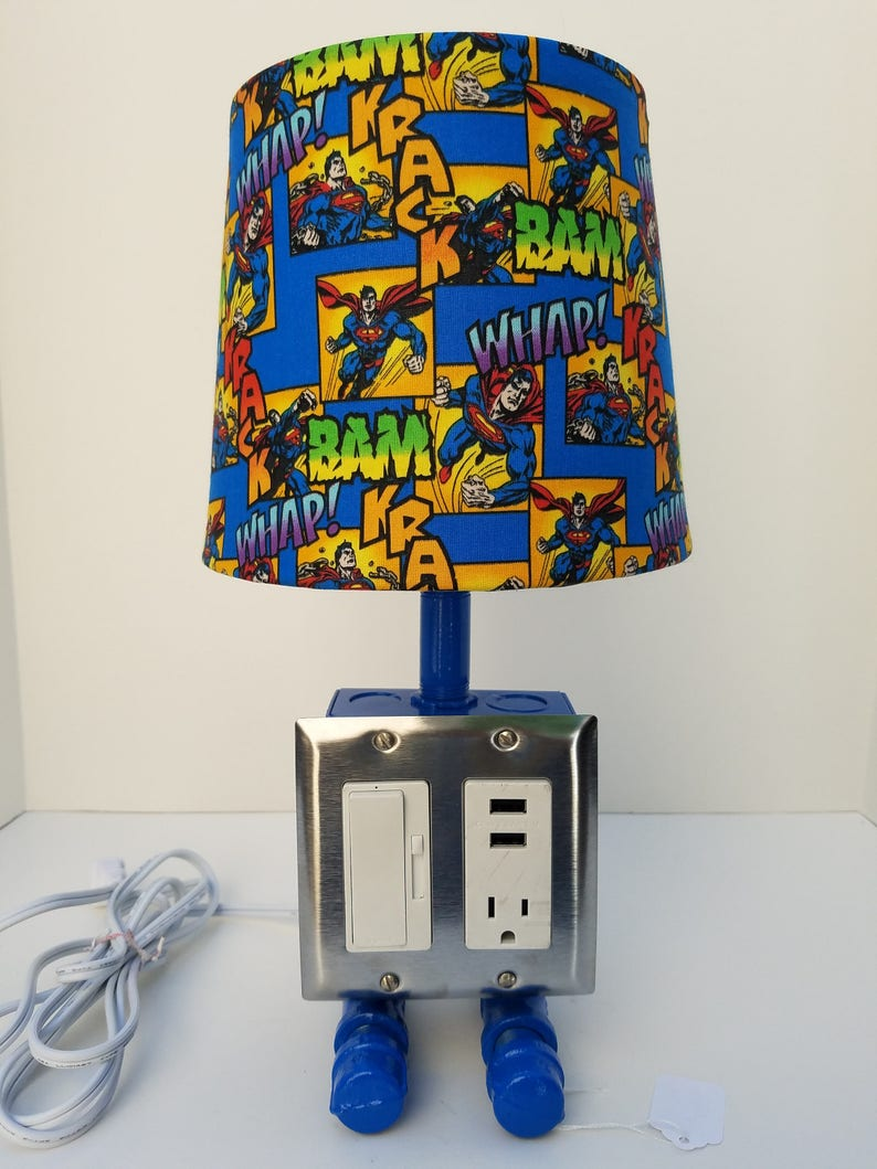 Table Lamp Industrial USB Light Man of Steel Steampunk Desk Lamp Blue Superman Light