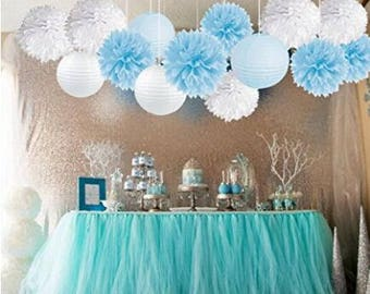 15pcs Baby Shower Decorations Tissue Paper Pom Poms Mixed Lanterns Party Supplies White Blue Boy Birthday