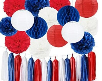 18pcs red white blue decor tassel garland tissue paper pom pom paper paper lantern honeycomb balls paper decor for national day party decor