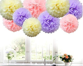 Hanging paper flower etsy 18pcs mix tissue hanging paper pom poms flower ball wedding party outdoor decoration tissue paper flowers craft kitivorylavenderpink mightylinksfo