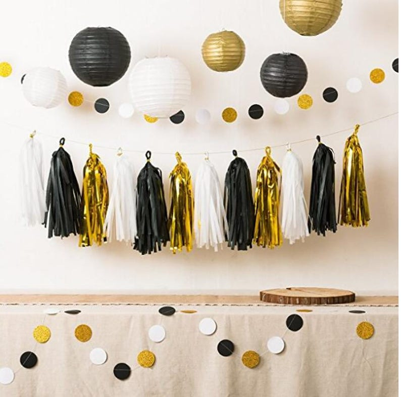 11pc White Black And Gold Party Decorations Tissue Paper