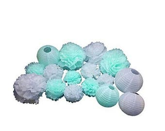 16PCS Boy Baby Shower Decoration Mint Green White Mixed Tissue Pom Poms Paper Lantern Party Favors Wedding Birthday Paper Decoration