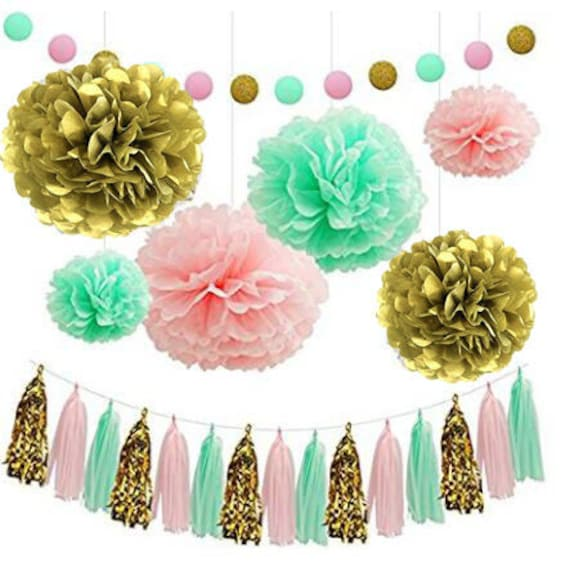 Since /® 18Pcs of 8 10 14 3 Colors Mixed Coral Peach Mint Tissue Paper Flowers,Tissue Paper Pom Poms Wedding Party Decor Pom Pom Flowers,Tissue Paper Flowers Kit,Pom Poms Craft,Pom Poms Decoration