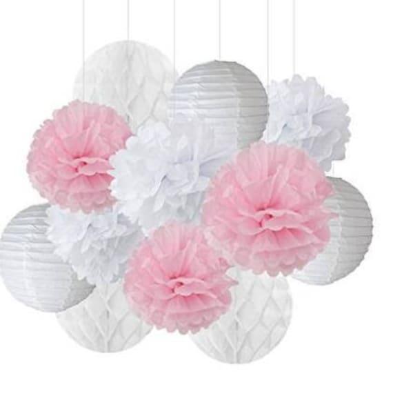 12pcs white pink pom pom flower tissue paper pom pom honeycomb etsy image 0 mightylinksfo