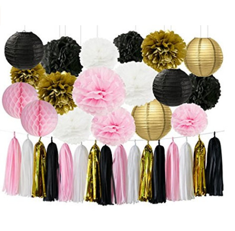 22PCS Baby Shower Decor Pink Gold White Black Party