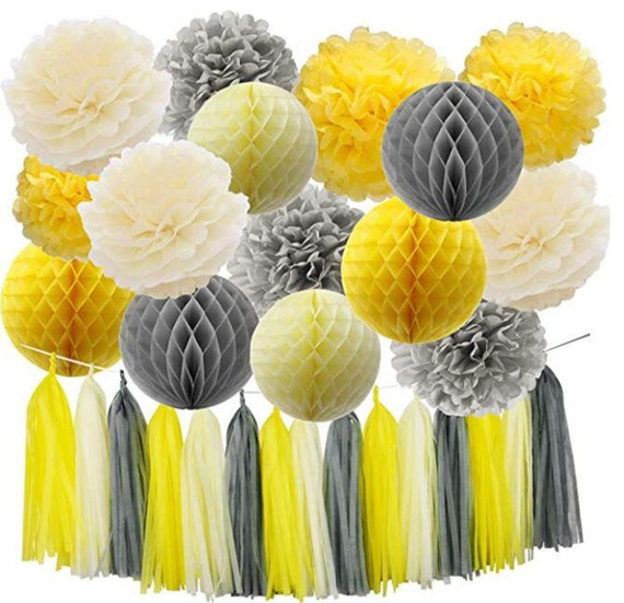 18Pcs Party Decoration Yellow Grey Elephant Baby Shower Decorations on