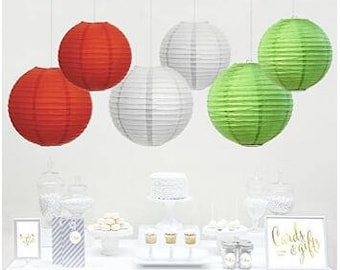 6PCS Mixed  Hanging Paper Lantern Party Decor , Kiwi Green, Red, White, For Office Classroom Christmas Decorations