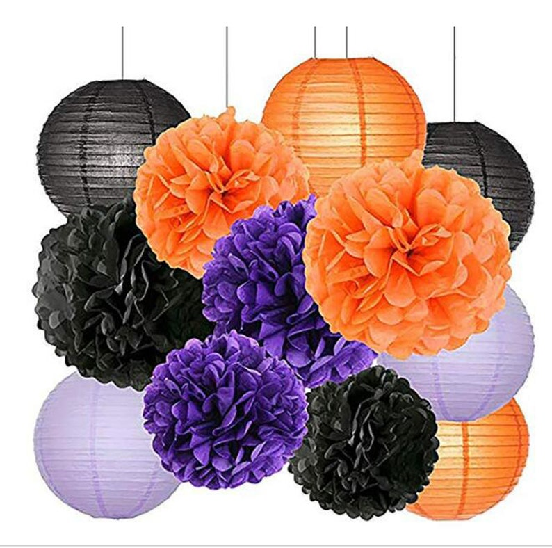 71380d879a4 12Pcs Halloween Party Decorations Kit Paper Lanterns Tissue