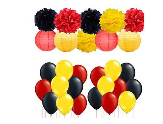 Mickey Mouse Birthday Party Decor Tissue Paper Pom Poms Paper Lanterns with  Yellow Black Red Party Balloons for Baby Shower Wedding Decor