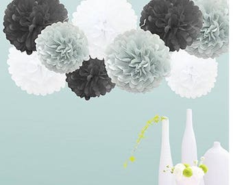Set of 18 Tissue Pom Pom Party Decorations for Weddings, Birthday Parties Baby Showers and Nursery Decor, Black/Gray/White