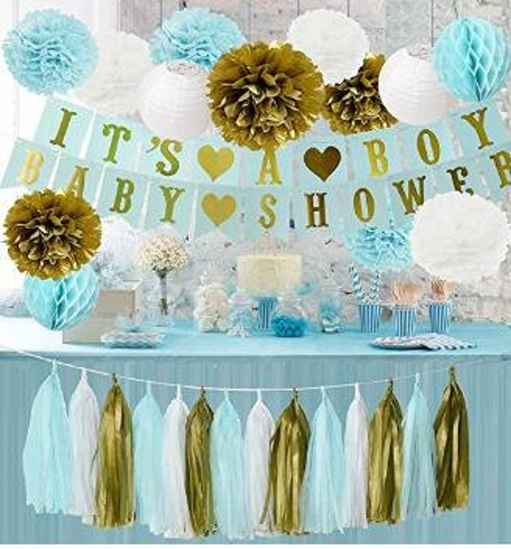 18pcs Baby Shower Decor Baby Blue White Gold Party Decorations Tissue Paper Pom Pom Honeycomb Ball Paper Lantern For Boy Birthday Decor