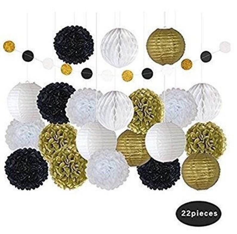 22 Pcs Black White Gold Decorative Paper Lanterns Tissue Diy Pom Poms Paper Flowers Birthday Decorations Hanging Decor Decorative Balls