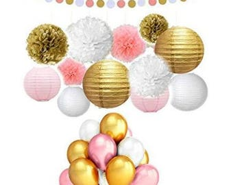 73 Pcs Pink and Gold Tissue Paper Flowers Pom Poms Lanterns and Latex Party Balloons for Baby Shower Party Decoration