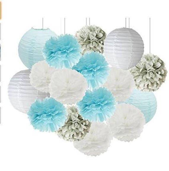 Set of 12 Mixed Baby Blue Gray White Tissue Pom Pom Hanging Paper Flower Ball Wedding Boy Birthday Baby Shower Party Decoration