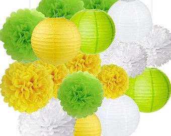 18Pcs Party Pack Paer Lanterns and Pom Pom Balls Hanging Decoration for Wedding Birthday Baby Shower-Yellow/Green/White