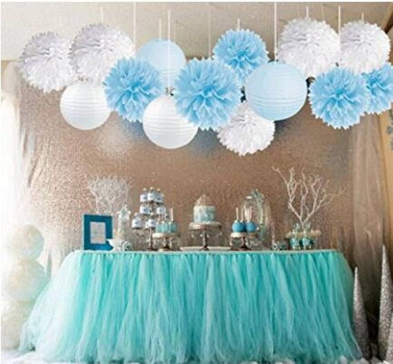 Stupendous 15Pcs Baby Shower Decorations Tissue Paper Pom Poms Mixed Paper Lanterns Party Supplies White Blue Boy Birthday Party Party Decorations Home Interior And Landscaping Ologienasavecom
