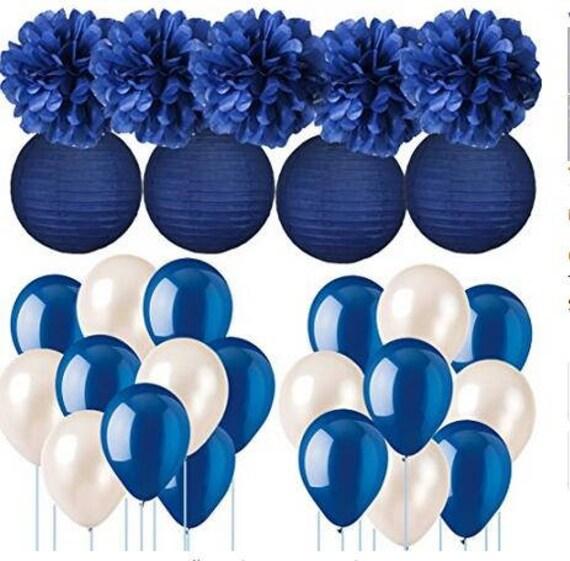 neutrals 5 tissue paper pom poms wedding decoration.htm navy blue wedding decorations tissue paper pom poms paper etsy  navy blue wedding decorations tissue