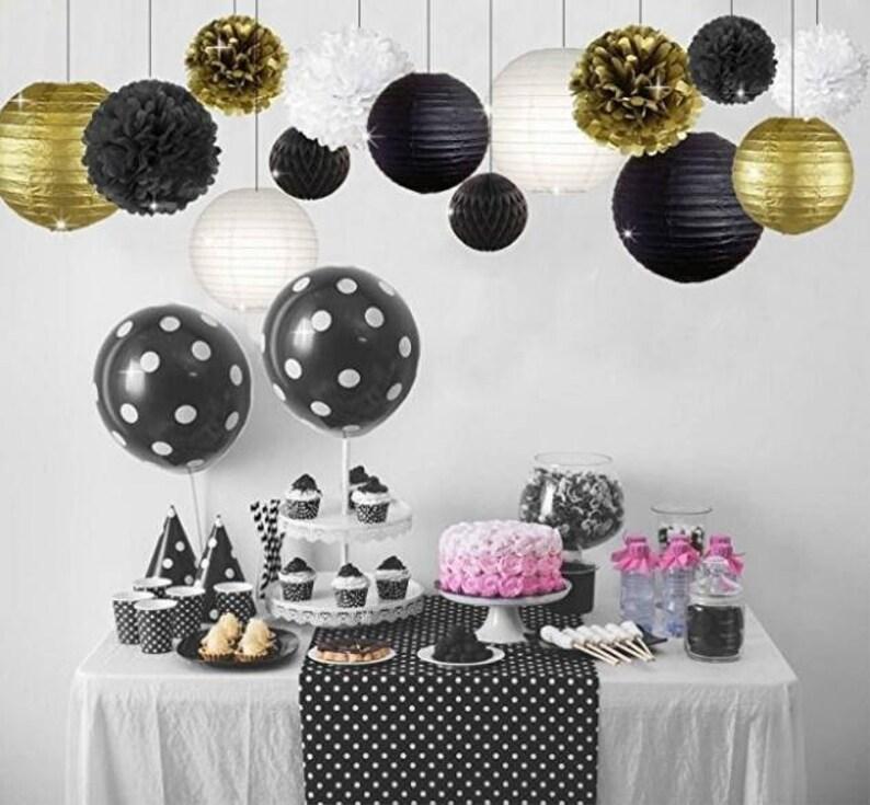 14 Pcs Gold Black White Party Decor Kit Tissue Paper Pom Poms