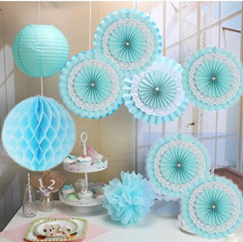 Baby Showers Birthday Anniversary Party Decoration 9pcsset Blue Paper Fan,Tissue Paper Pom Poms Paper Lanterns,Paper honeycomb balls