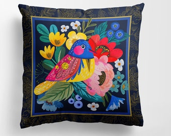 Bird of Happiness from the Garden of Paradise Premium Double-Sided Pillow Case.