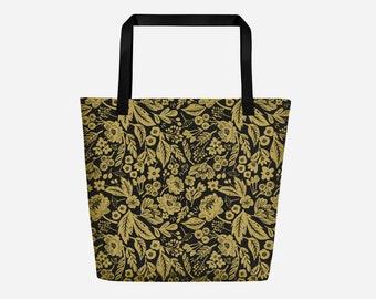 Golden Edem Flowers Shopper Tote Bag.