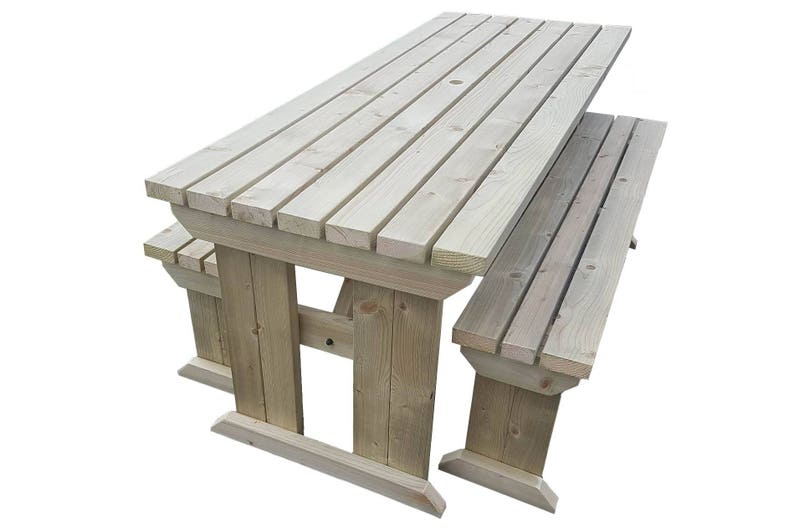Wooden Picnic Table and Bench Set Wooden Garden/Patio image 0